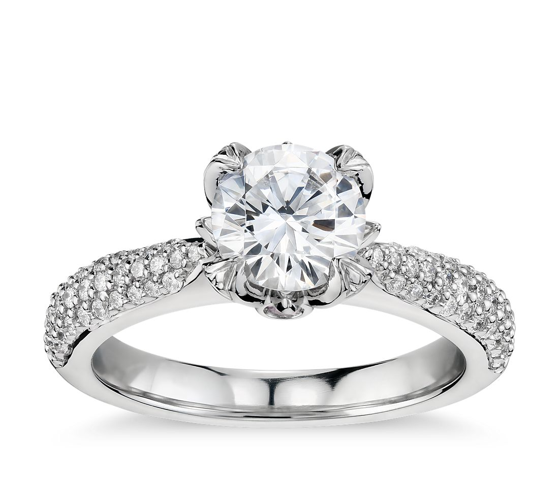 Monique Lhuillier Pavé Leaf Diamond Engagement Ring in Platinum (1/3 ct. tw.)